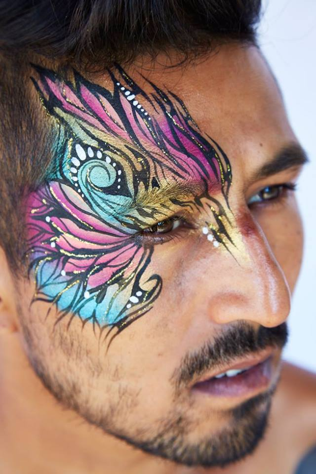 Coloured Tribal Male Face Art Design