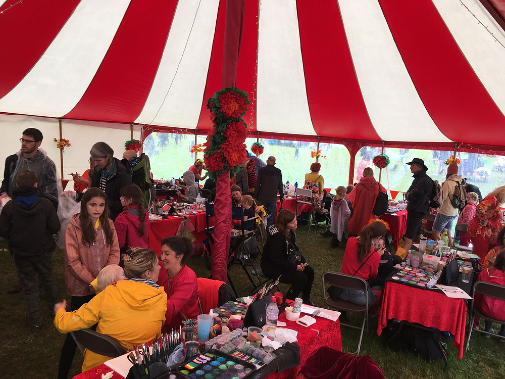 Camp Bestival face painting tent