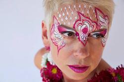 Pink Lace Design Face Paint