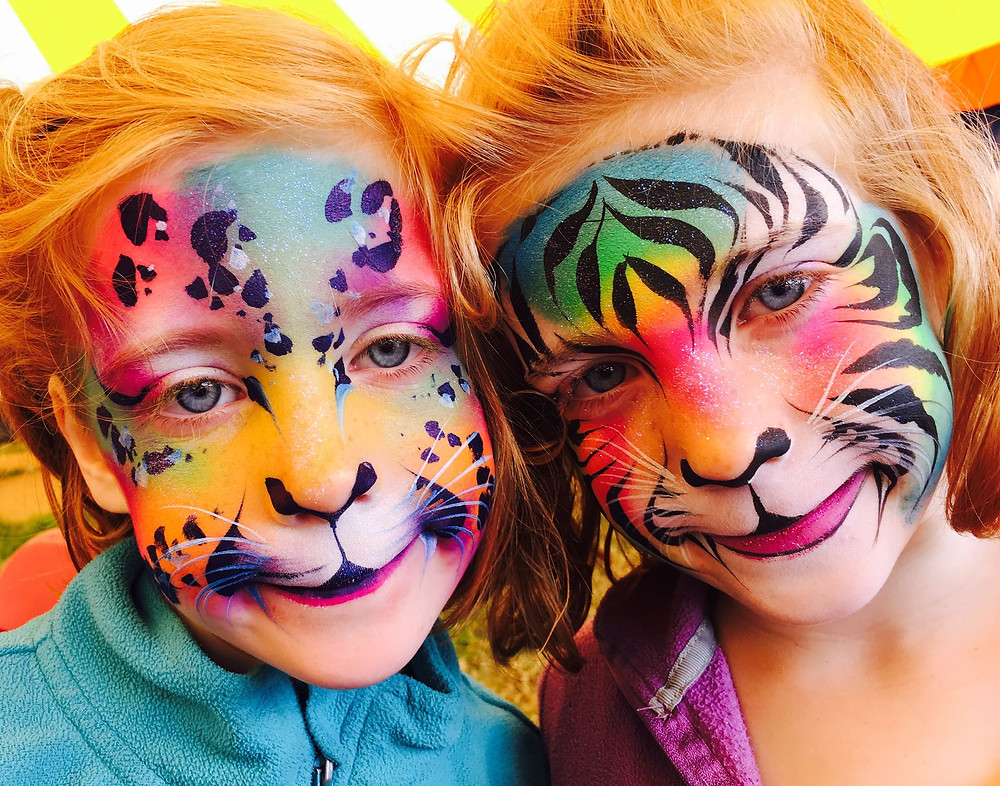 Rainbow tiger and leopard face paint