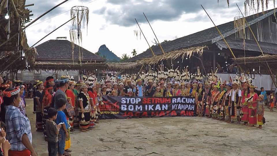 Indigenous people protest against destructive fishing