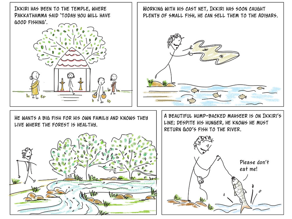 Cartoon of tribal fisher in forest