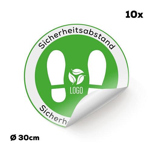 Indoor-Fußbodenaufkleber grau mit Ihrem Logo (10 Stück)