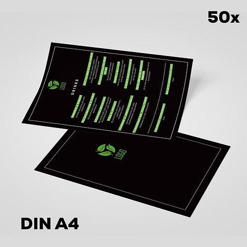 Menükarten A4 schwarz/Highlights mit Ihrem Logo (50er Auflage)