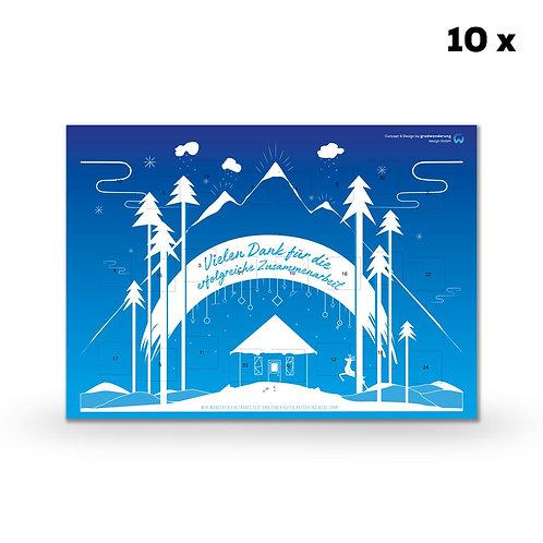 Schokoladen-Adventskalender in Ihrem Design (Querformat) (10 Stück)