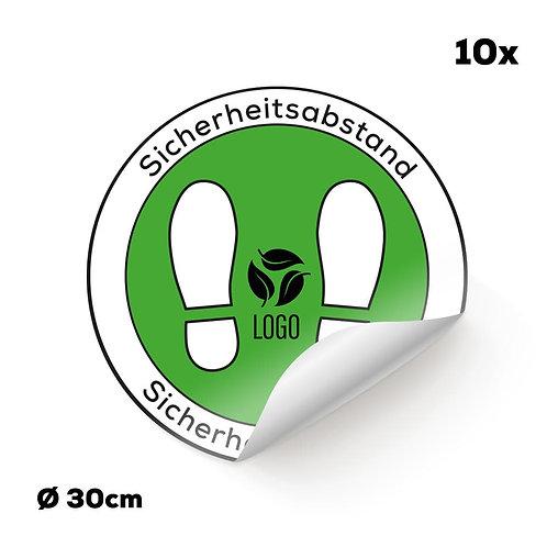 Indoor-Fußbodenaufkleber weiß mit Ihrem Logo (10 Stück)