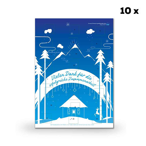 Schokoladen-Adventskalender in Ihrem Design (Hochformat) (10 Stück)