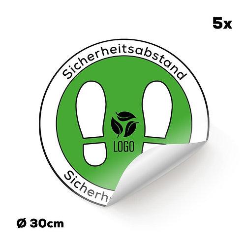 Indoor-Fußbodenaufkleber weiß mit Ihrem Logo (5 Stück)