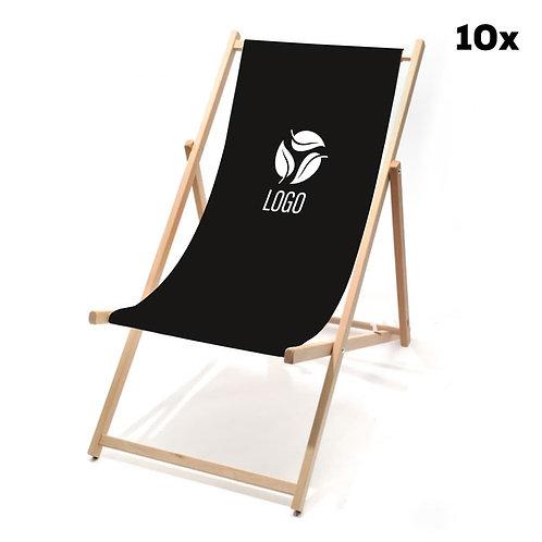 Liegestühle schwarz mit Ihrem Logo (10 Stück)