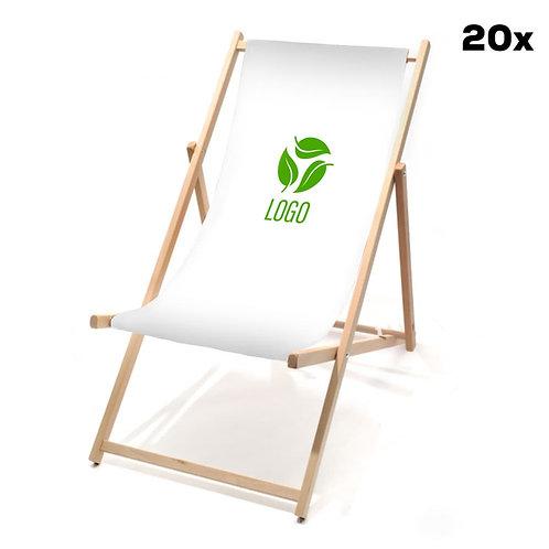 Liegestühle weiß mit Ihrem Logo (20 Stück)