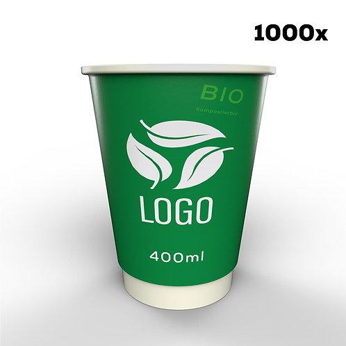 Doppelwandige Biopappbecher in Ihrem Design -  400 ml (1000 Stück)