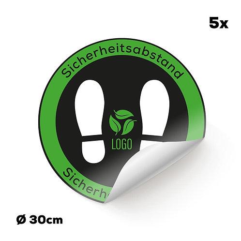 Indoor-Fußbodenaufkleber schwarz mit Ihrem Logo (5 Stück)