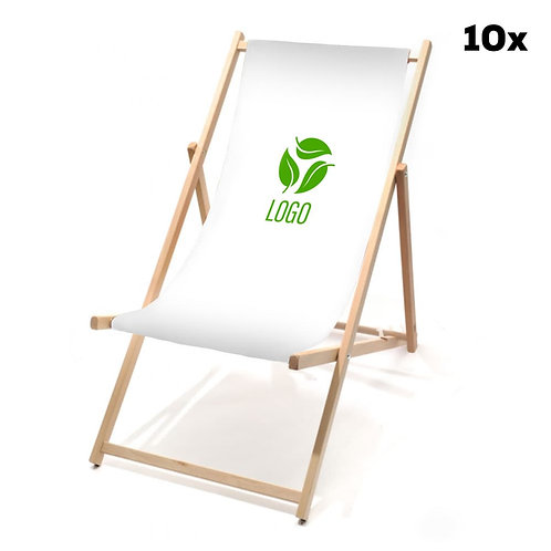 Liegestühle weiß mit Ihrem Logo (10 Stück)
