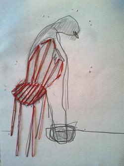 silla roja cosida