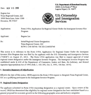 TEXAS REGIONAL CENTER APPROVED BY USCIS
