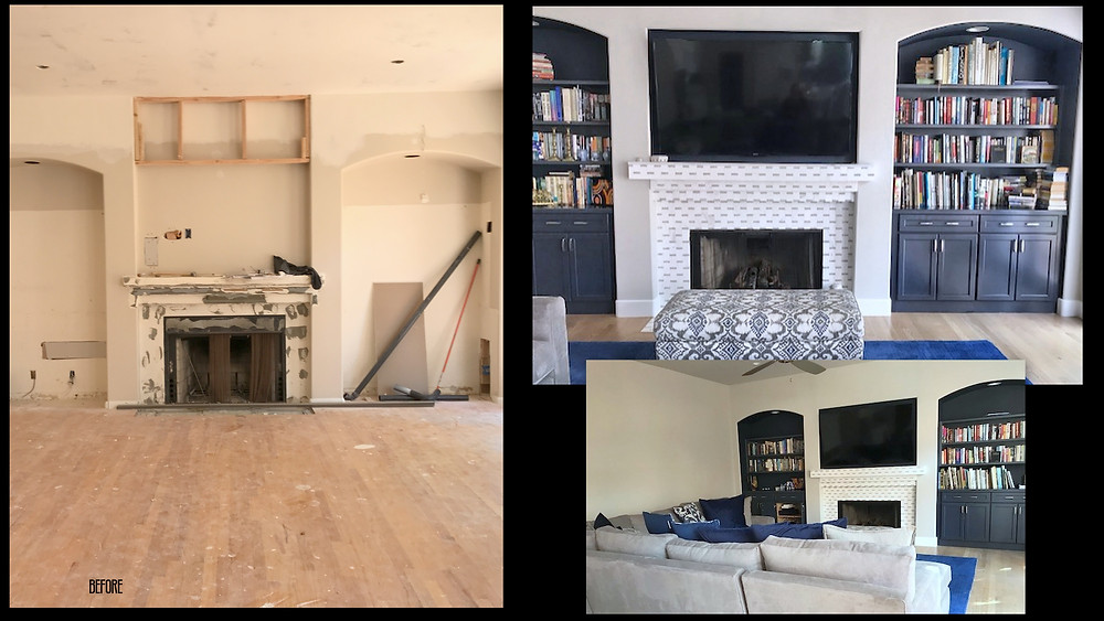 Family room before and after remodel
