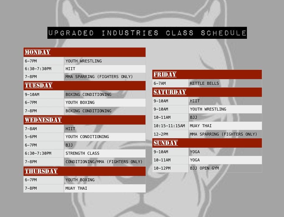 Upgraded Industries Class Schedule