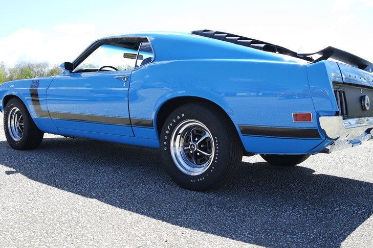 1970 Ford Mustang Boss 302 Blue with Black Stripes