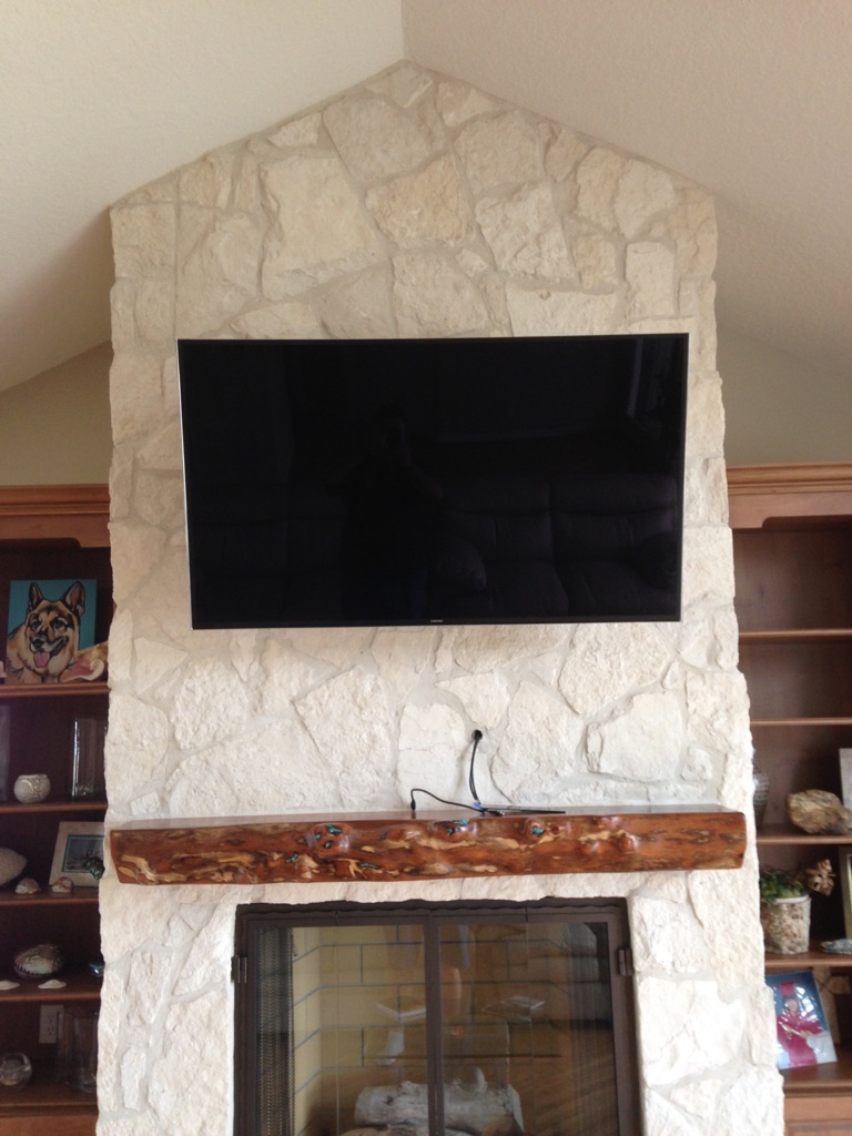 Fireplace with TV Mounted