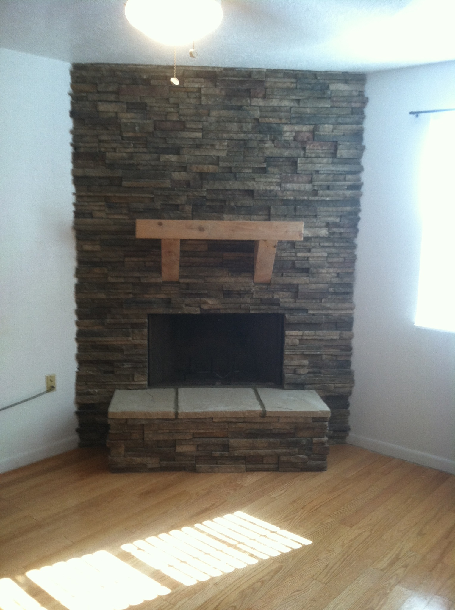 Cedar beam mantel