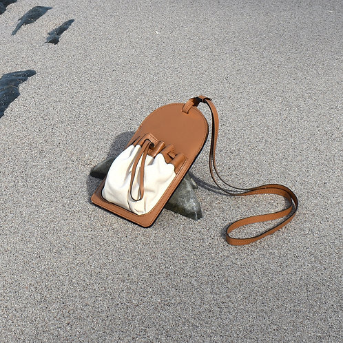 Lilou leather and canvas pouch | Tan