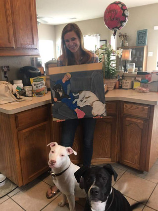 Husband surprises wife with portrait