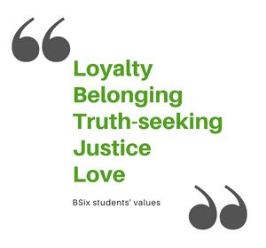 BSix students' values