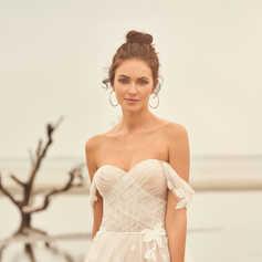 A-lijn jurk met bloemendetails en afneembare mouwen STIJL 66110