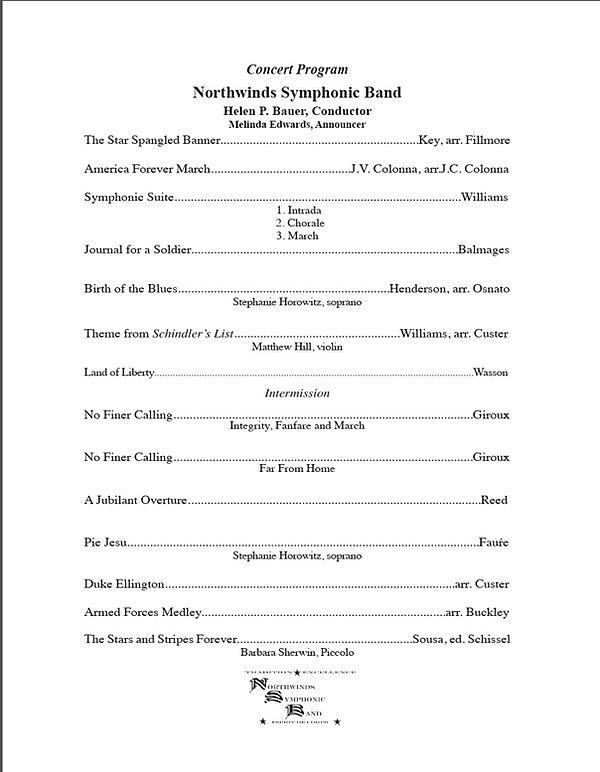 Veterans Concert – Concert Program