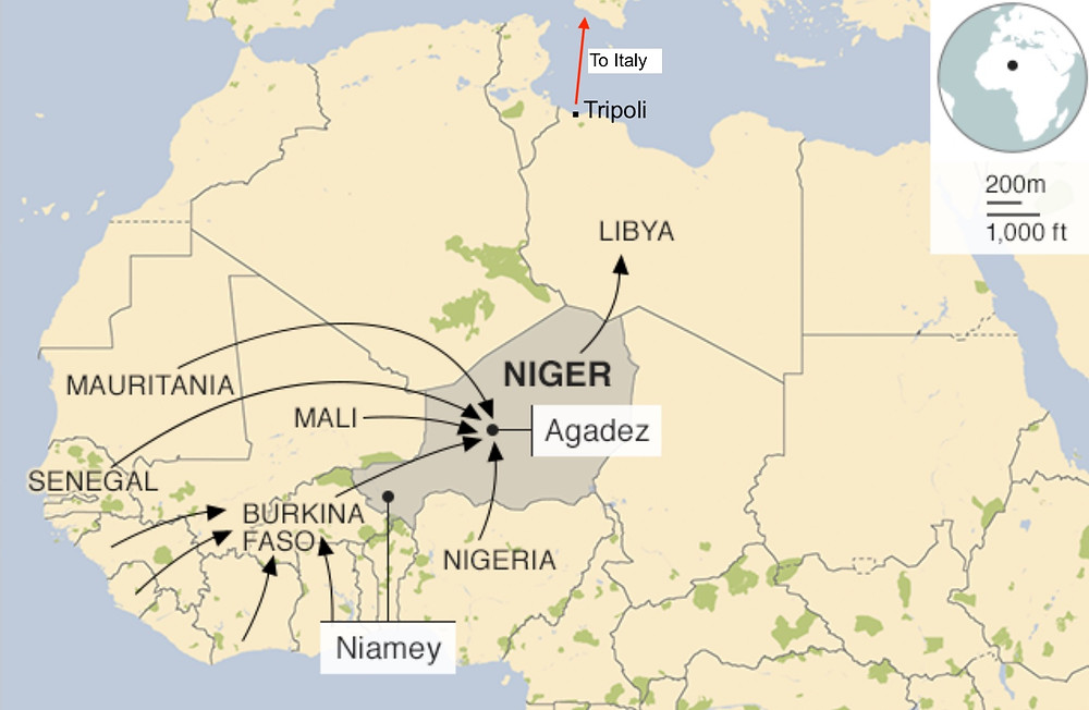 Migration routes from West Africa to Europe through Libya