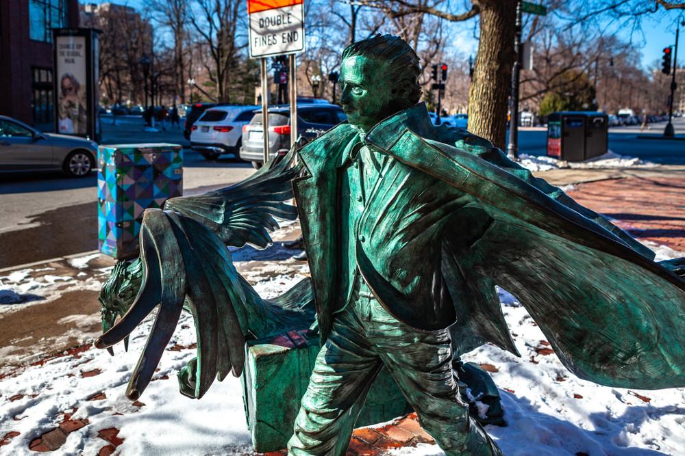 Statue of Edgar Allan Poe on Boylston Street, Boston
