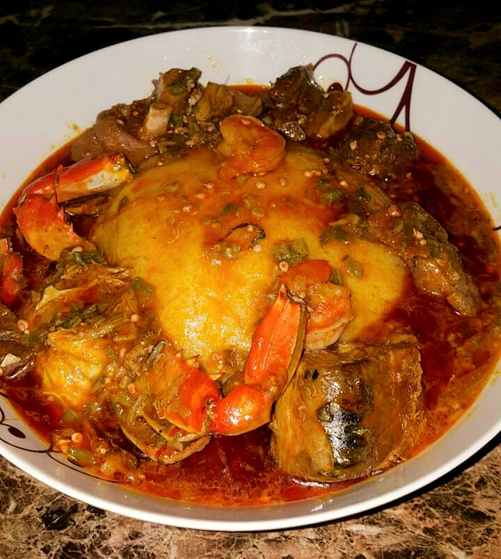 Banku with delicious okro/okra soup (Pinterest/Ama Serwah)