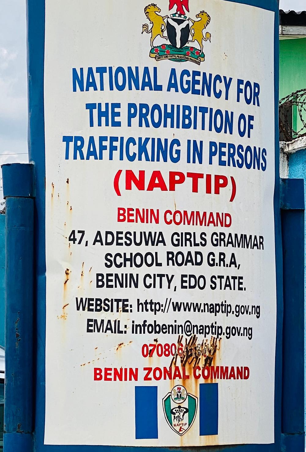 The NAPTIP sign in the city of Benin, in Nigeria