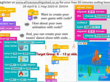 Free 30 minutes online coding lessons: 29 April & 1 May 2020
