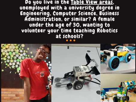 Unemployed university graduate looking for work experience?  Help us take Robotics to our schools.