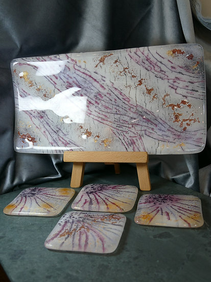 Gift set of Bevelled plate and Coasters