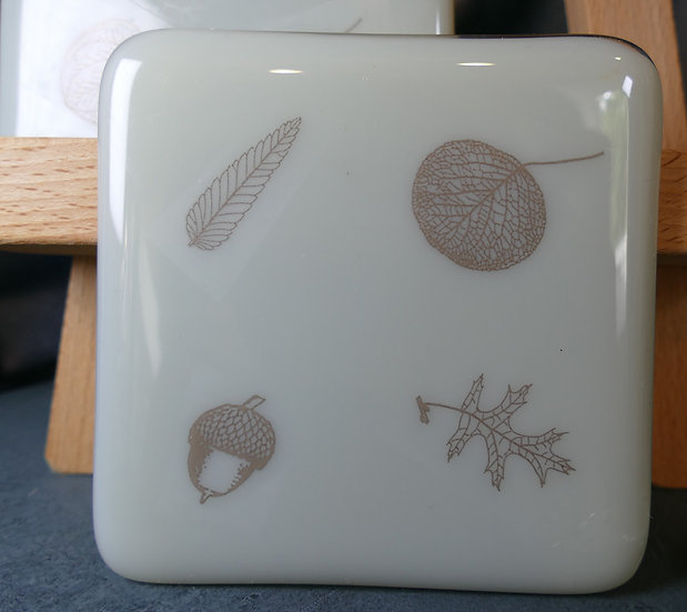 Three Woodland Grey Glass Coasters
