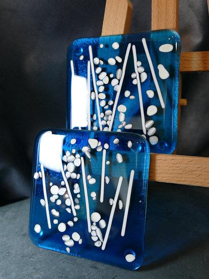 Two Transparent Blue Reactive Coasters