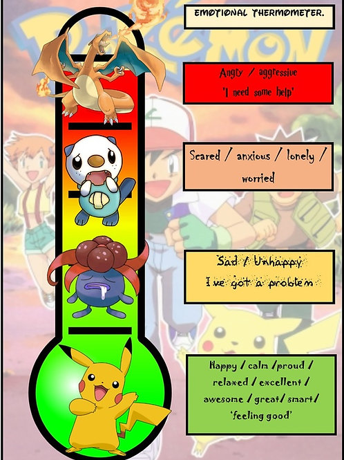 Anger Management Chart for kids (Pokemon)