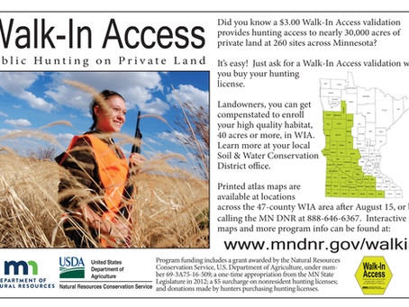 Enrollment open for Department of Natural Resources Walk-In Access (WIA) Program through June 12th