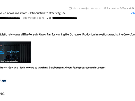 BluePenguin AirconFan won the Consumer Product Innovation Award at the Crowdfunded Summit 2020
