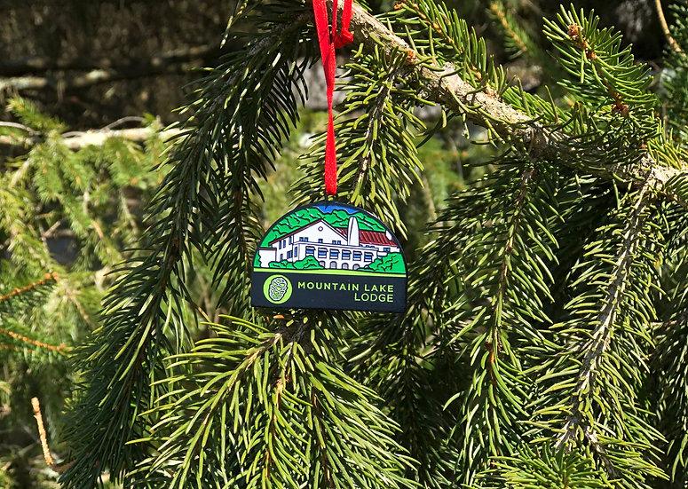 Mountain Lake Lodge Metal Ornament