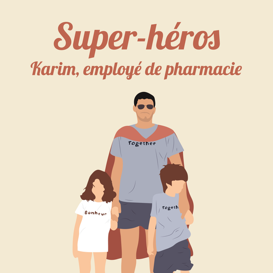 Karim, employé de pharmacie à Cenon, près de Bordeaux, livre les personnes âgées et distribue les masques reçus par l'état aux professionnels de santé.