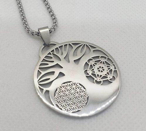 Médaillon arbre de vie fleur de vie cube de Metatron argenté