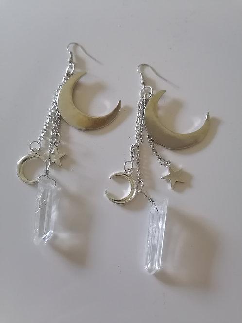 Boucles d'oreilles Anneaux Lune Étoile Quartz