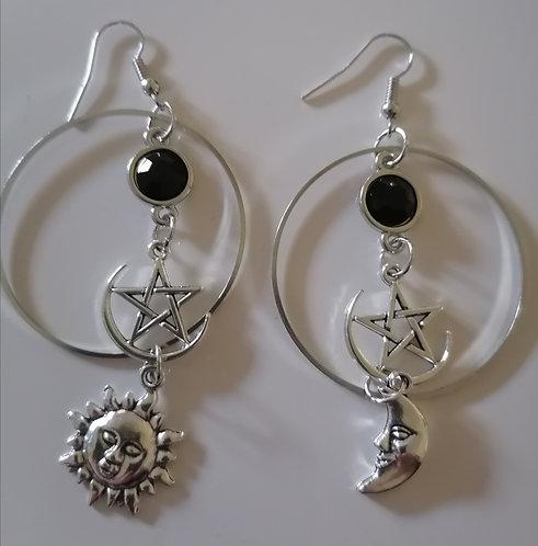 Boucles d'oreilles Anneaux Pentacle Lune Soleil