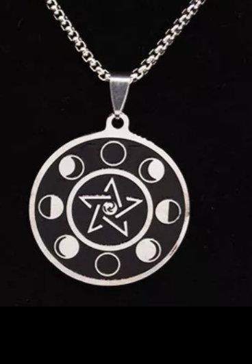 Médaille de protection Wicca phases de la lune