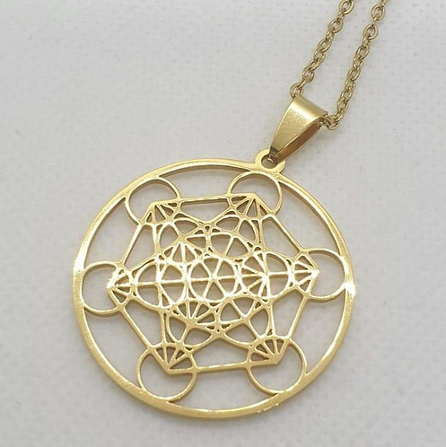 Médaillon de protection Cube de Metatron doré