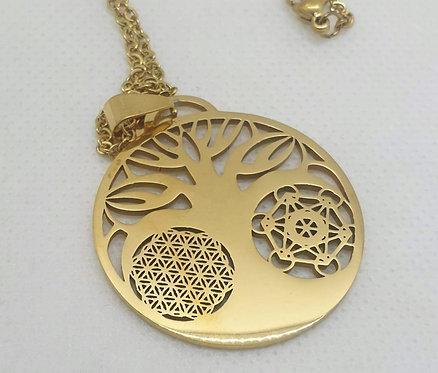 Médaillon arbre de vie fleur de vie cube de Metatron doré