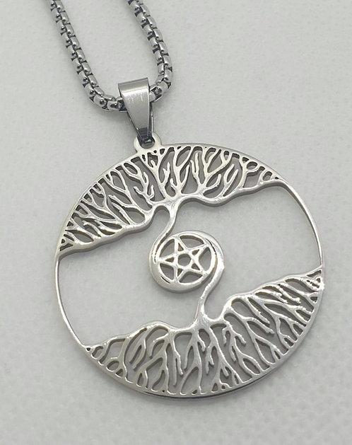 Médaillon de protection pentacle et arbre de vie